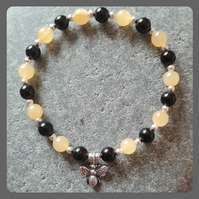 Ambronite, Onyx and Sterling Silver Bracelet with Bee Charm