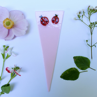 Ladybird Plant Pot Decoration, Pink Glass with Fused Ladybirds