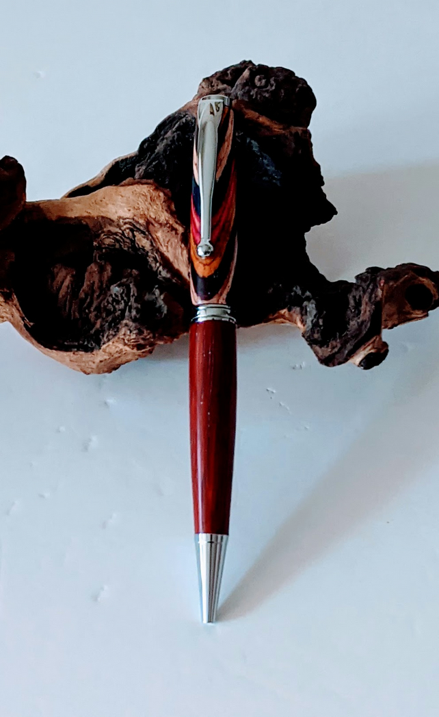 169 Ballpoint Pen made from Festival Colour Grain Wood and Padauk