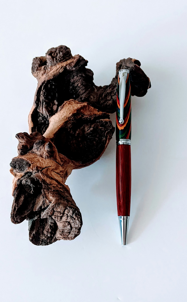 166 Ballpoint Pen made from Oasis Colour Grain Wood and Padauk