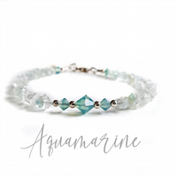 Sterling Silver Aquamarine Chip and Pacific Opal Swarovski Crystal Bracelet