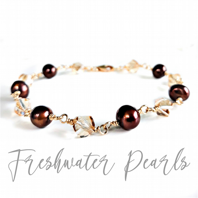 14K Gold Filled Freshwater Pearl and Crystal Link Chain Bracelet