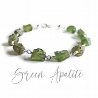 Rare Green Apatite Rough Cut Nugget Gemstone Link Bracelet