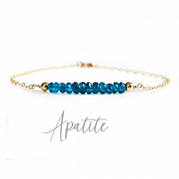 Deep Ocean Blue Apatite and 14k Gold Filled Bracelet, Gemstone Healing Bracelet