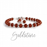 Goldstone Semi Precious Bracelet, Sterling Silver or Gold Filled, Made to Order