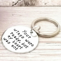 Your Wings Were Ready But My Heart Was Not Keyring - Memorial Gift - In Memory