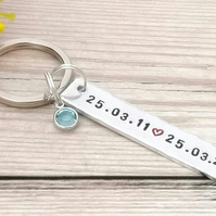 Special Date Keyring With Birthstone Crystal - 10th Wedding Anniversary Gift