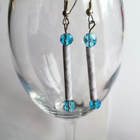 Grey and white paper beads with Swarovski beads earrings
