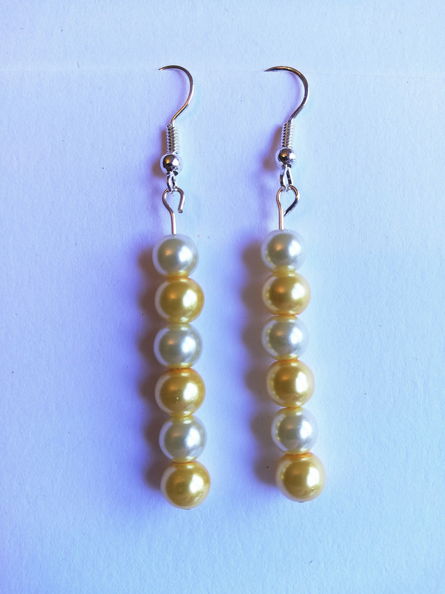 Yellow and cream Swarovski pearl earrings