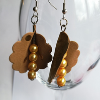 Yellow Swarovski pearl earrings with leathered paper