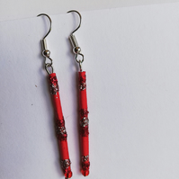 Red sparkly paper bead earrings