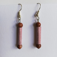 Gold sandstone and paper bead earrings