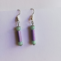 Amazonite and paper beads earrings