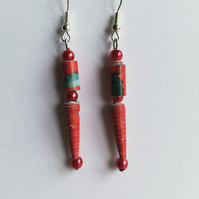 Swarovski pearls with red paper beads earrings