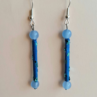Blue chalcedony earrings for pierced ears