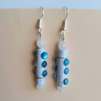 Quartz beads and blue paper bead earrings with blue cabochons