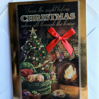 Luxury 3D Christmas card showing fireside and Christmas tree