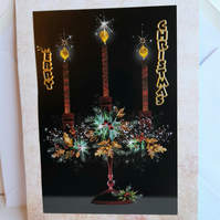 Christmas card showing candelabra