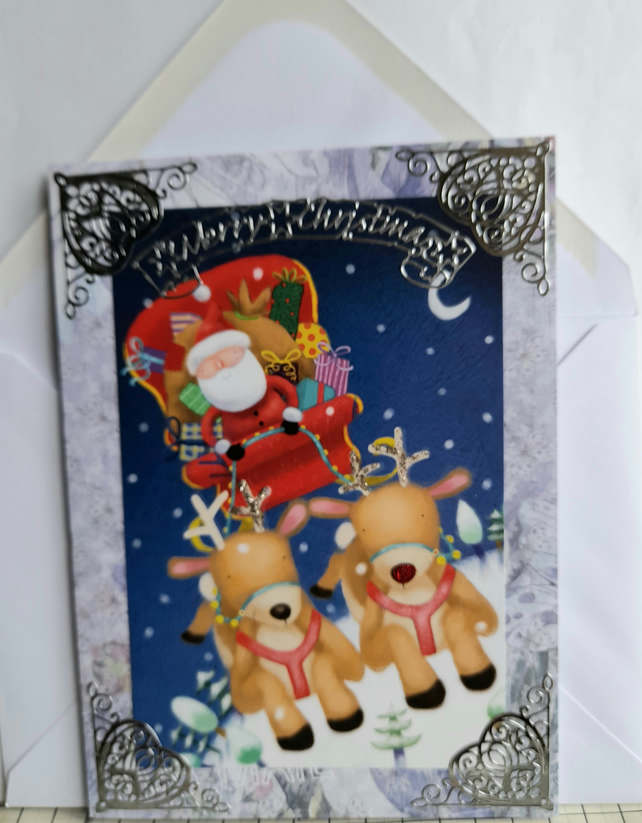 Fun Santa on sleigh Christmas card