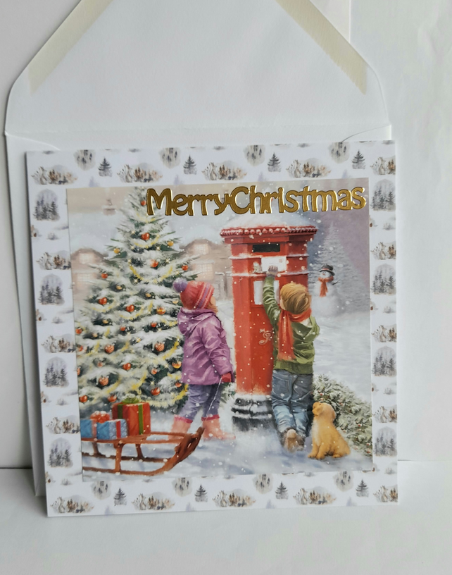 Traditional Christmas card showing children posting letters