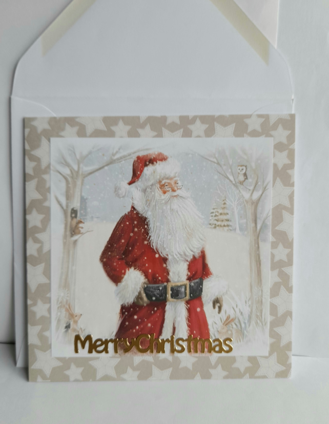 Traditional Christmas card showing Father Christmas