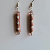 SALE! REDUCED! Rose pink beads and brown acorn paper beads earrings