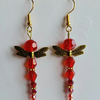 Dragonfly design earrings in red and gold
