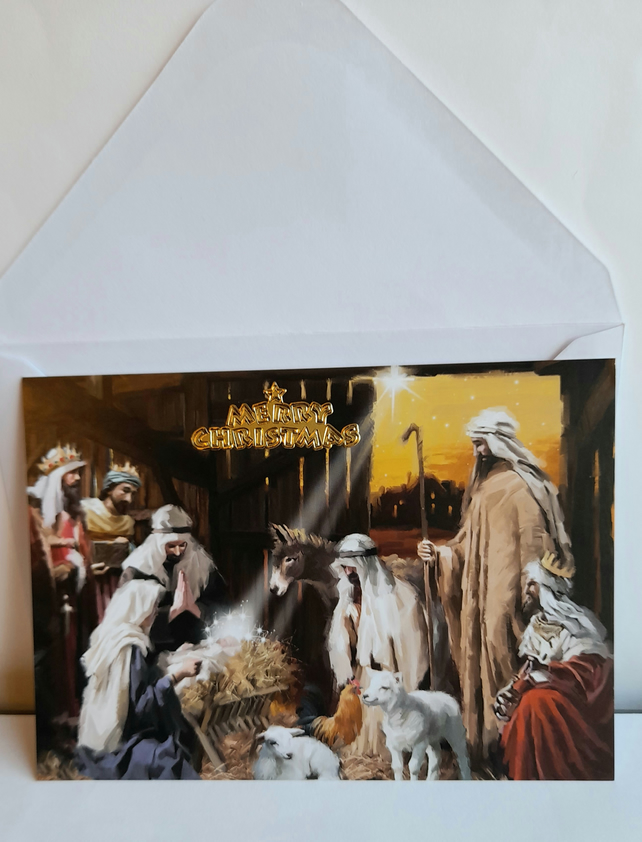 Christmas card showing Shepherds and nativity scene