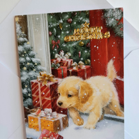 Christmas card with puppy and gifts