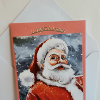 Christmas card with Father Christmas in the snow