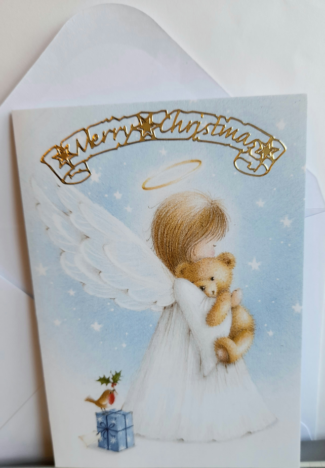 Christmas card showing angel and teddy bear