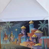 Horizontal fold Christmas card showing three wise men
