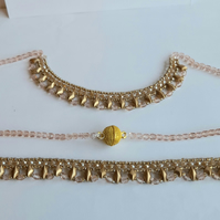 Longer length necklace and bracelet set. Woven beads in intricate design