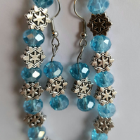 bracelet and earrings set of turquoise beads and metal charms