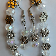 metal charms and clear faceted bead bracelet and earrings set