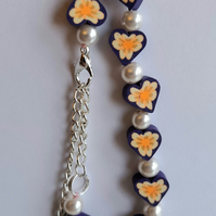 wooden heart and Swarovski pearl bead bracelet