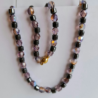 semi precious hematite barrels and faceted beads necklace