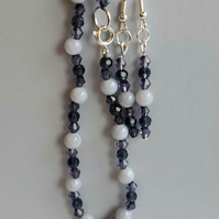 Blue and milky blue earrings and bracelet set