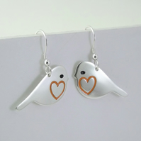 Robin Drop Earrings, Silver Bird Jewellery, Handmade Nature Gift for Her