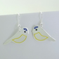 Blue Tit Drop Earrings, Silver Bird Jewellery, Handmade Nature Gift for Her