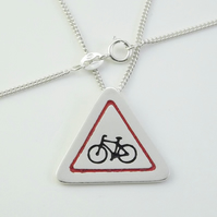 Cyclist Road Sign Pendant, Silver Bicycle Necklace, Handmade Bike Jewellery