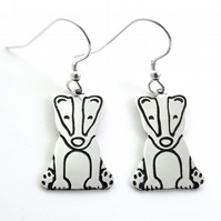 Badger Drop Earrings, Silver Wildlife Jewellery, Handmade Nature Gift for Her