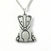 Badger Pendant (Large), Handmade from Sterling Silver