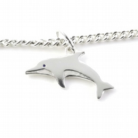 Dolphin Anklet, Silver Wildlife Jewellery, Gift for Her, Nature Anklet