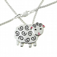 Sheep Pendant (Large), Silver Farm Animal Necklace, Handmade Lamb Gift