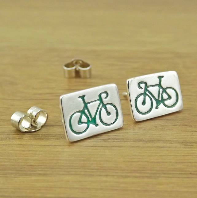 Road bike stud earrings for cyclist, handmade from sterling silver