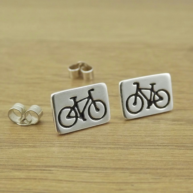 Mountain bike stud earrings for cyclist, handmade from sterling silver