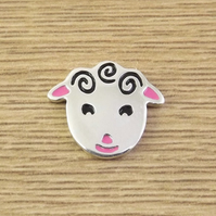 Sheep badge, lapel pin, tie tack, handmade from sterling silver