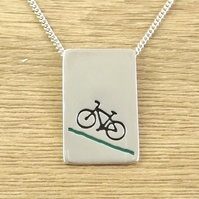 Mountain bike pendant (large) handmade from sterling silver