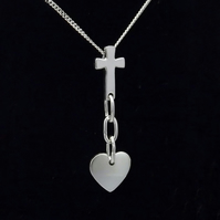 Lovespoon inspired cross, chain and heart necklace
